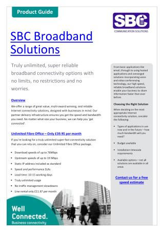 SBC Broadband Brochure
