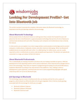 Bluetooth jobs across India - Wisdomjobs