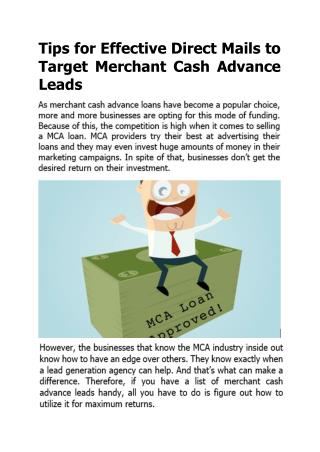Tips for Effective Direct Mails to Target Merchant Cash Advance Leads
