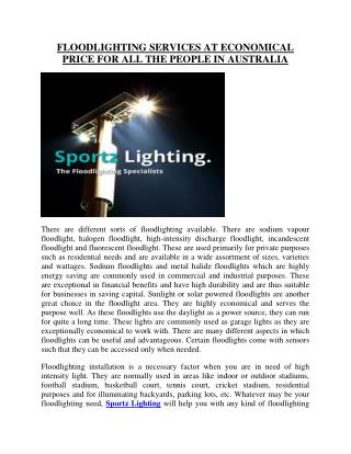 Sportz Lighting: The flood lighting specialists in Sydney