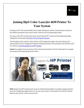 Joining Hp® Color LaserJet 4650 Printer To Your System