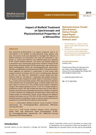 Influence of Biofield Energy on Properties of p-Nitroaniline
