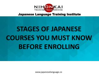 Japanese Language Course Stages