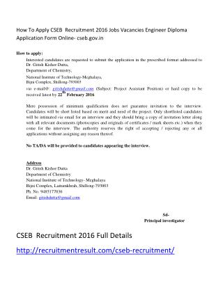 How to Apply CSEB Recruitment 2016 Jobs Vacancies Engineer Diploma Application Form Online- Cseb.gov.In