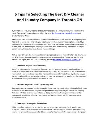 5 Tips To Selecting The Best Dry Cleaner And Laundry Company In Toronto ON