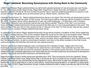 Regal Lakeland; Becoming Synonymous with Giving Back to the Community