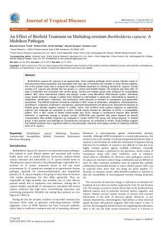 An Effect of Biofield Treatment on Multidrug-resistant Burkholderia cepacia: A Multihost Pathogen