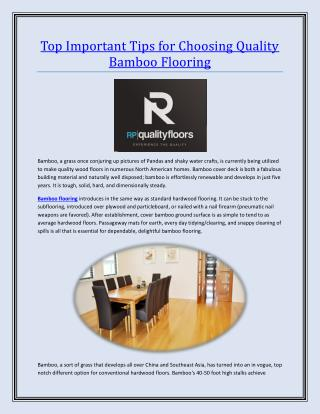 Top Important Tips for Choosing Quality Bamboo Flooring