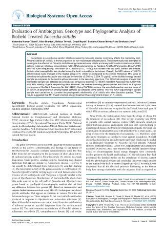 Evaluation of Antibiogram, Genotype and Phylogenetic Analysis of Biofield Treated Nocardia otitidis