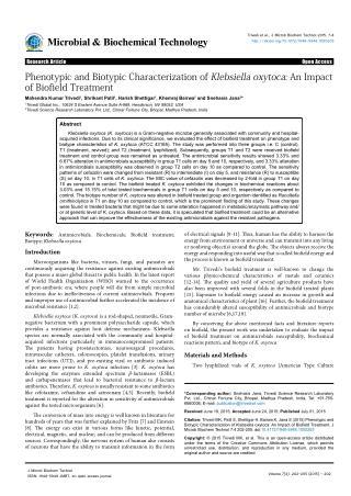 Impact on Biotypic Characterization of klebsiella Oxytoca