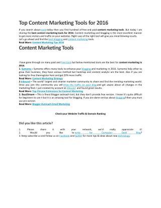 Content Marketing Tools 2016