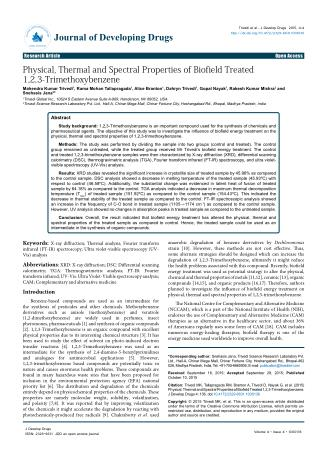 Physical, Thermal and Spectral Properties of Biofield Treated 1,2,3-Trimethoxybenzene