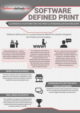 Web to print solutions for Printers and Print brokers.