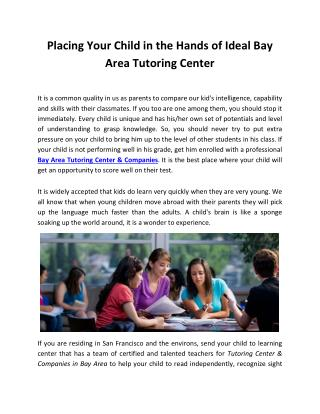 Placing Your Child in the Hands of Ideal Bay Area Tutoring Center