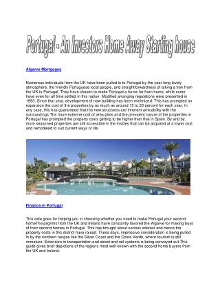 Ideal Mortgages in Portugal and the Algarve