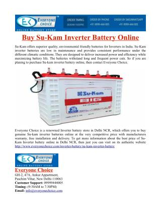 Buy Su-Kam Inverter Battery Online