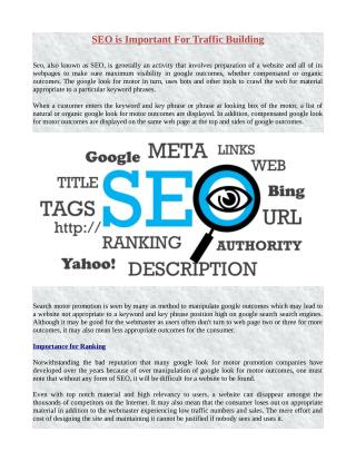 SEO Is Important for Traffic Building