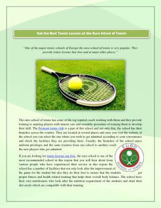 Get the Best Tennis Lessons at the Euro School of Tennis