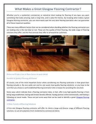 What Makes a Great Glasgow Flooring Contractor?