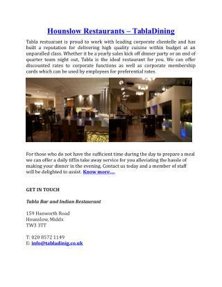Hounslow Restaurants Tabladining