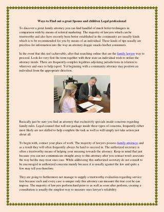 Ways to Find out a great Spouse and children Legal professional