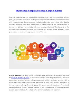Importance of digital presence in Export Busines