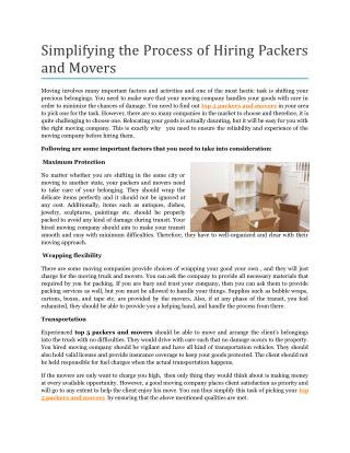 Simplifying the Process of Hiring Packers and Movers