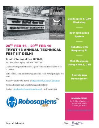Tryst'16 Annual Technical Fest IIT Delhi