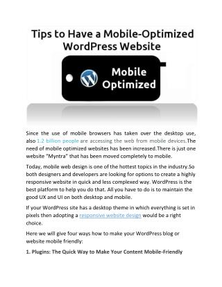 Creating Mobile Optimized Websites Using WordPress
