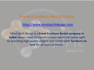 Event Furniture Rental Dubai - Mind Spirit Design