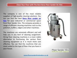Clean Your Floor with The Best Bona Floor Sander On Hire