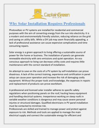 Why Solar Installation Requires Professionals