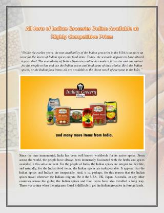 All Sorts of Indian Groceries Online Available at Highly Competitive Prices