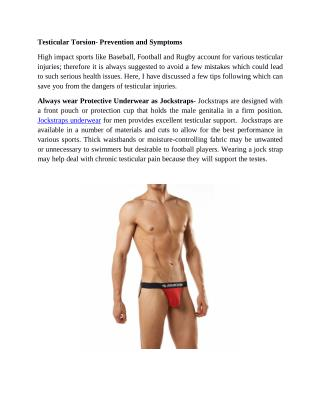 Testicular Torsion- Prevention and Symptoms