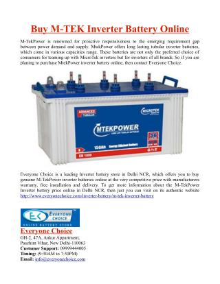 Buy M-TEK Inverter Battery Online