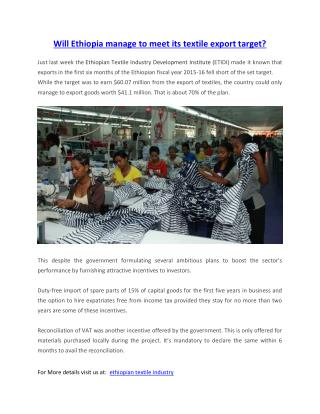 Will Ethiopia manage to meet its textile export target?