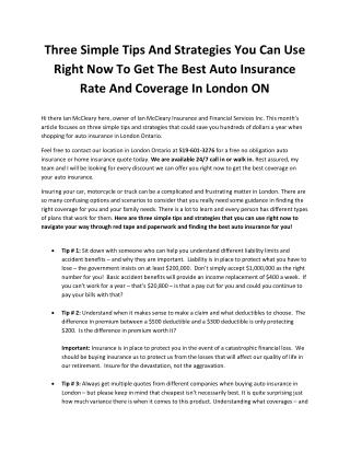 Three Simple Tips And Strategies You Can Use Right Now To Get The Best Auto Insurance Rate And Coverage In London ON