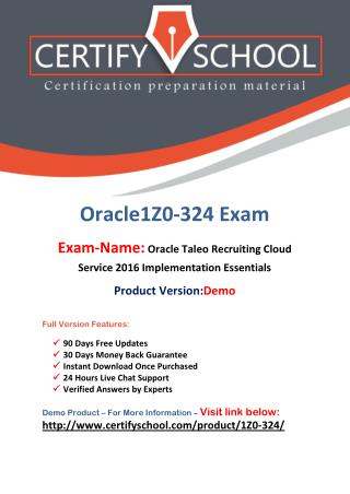 1Z0-324 Oracle Latest Exam Brain Dumps