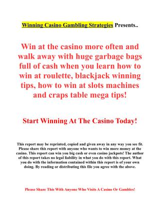 Winning casino gambling systems & strategies revealed!