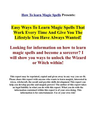 Real magic spells - Learn real magic secrets!