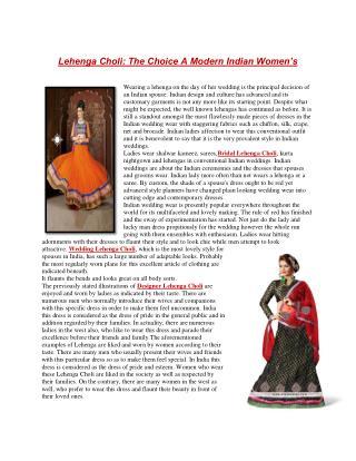 Lehenga Choli: The Choice A Modern Indian Women's