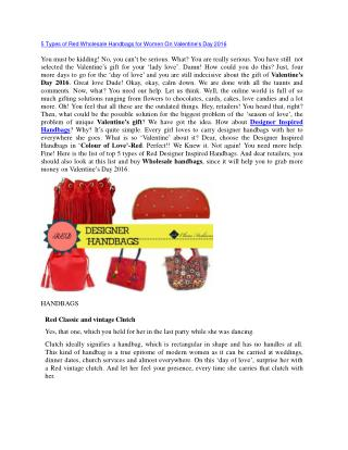 5 Types of Red Wholesale Handbags for Women On Valentine's Day 2016