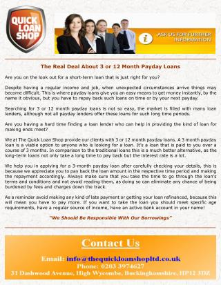 The real deal about 3 or 12 month payday loans