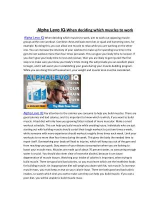 Alpha Levo IQ When trying to gain muscle mass