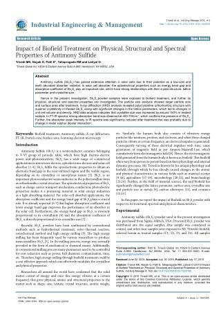 Influence of Human Biofield Energy on Antimony Sulfide