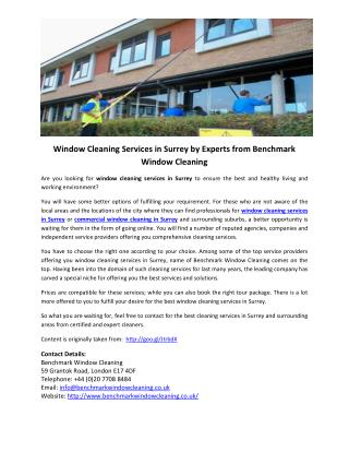 Window Cleaning Services in Surrey by Experts from Benchmark Window Cleaning