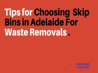 Tips for Choosing Skip Bins in Adelaide for Waste Removals
