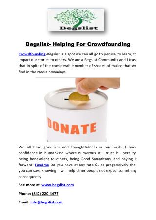 Begslist- Helping For Crowdfounding