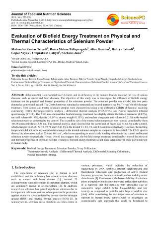 Biofield   Physical & Thermal Characteristics of Selenium Powder