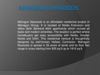 Mahagun Mywoods Affordable Residential Project Greater Noida West